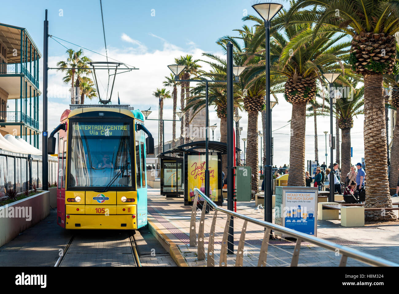 Adelaide, Australia - August 16, 2015: Tram at Moseley Square stop ready to depart towards Adelaide city. - Stock Image