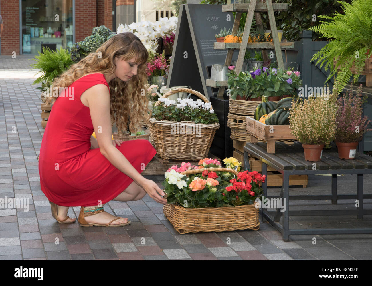 Girl buying flowers from a flower stall in Seven Dials, London Stock Photo