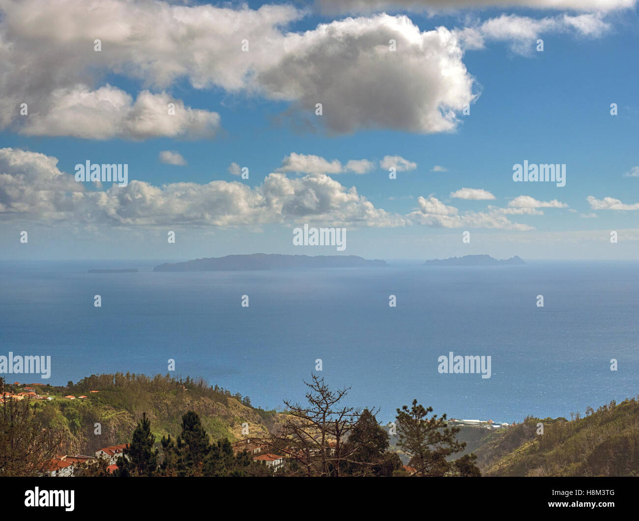 Ilhas Desertas (Deserted Islands) in the Atlantic, viewed from the island of Madeira, Portugal - Stock Image