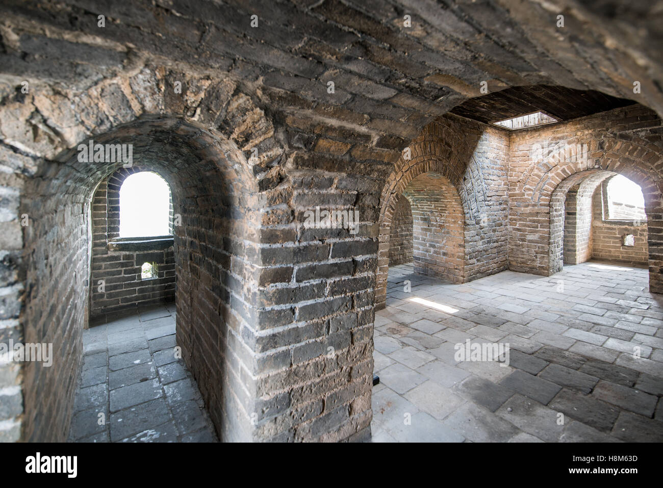 Mutianyu, China - Interior of the Great Wall of China. The wall stretches over 6,000 mountainous kilometers east - Stock Image