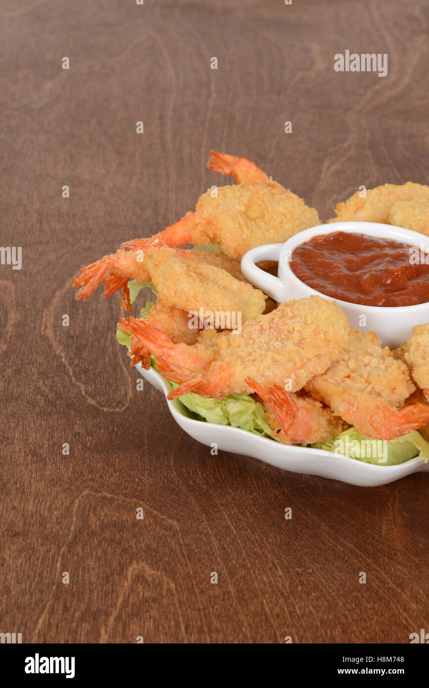 cooked breaded shrimp - Stock Image