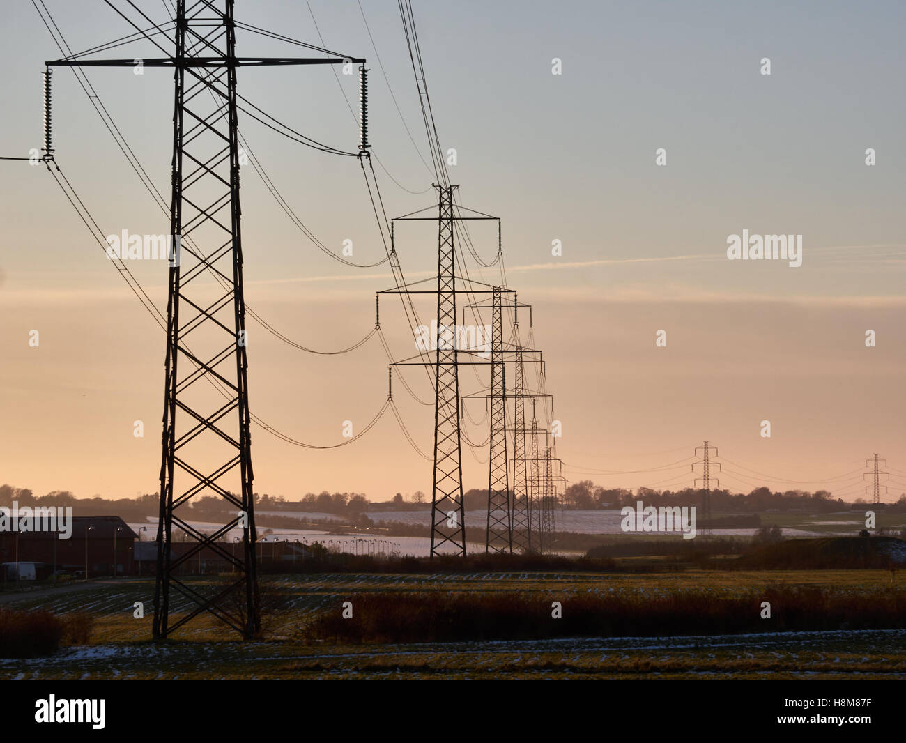 Powerlines at Dusk - Stock Image