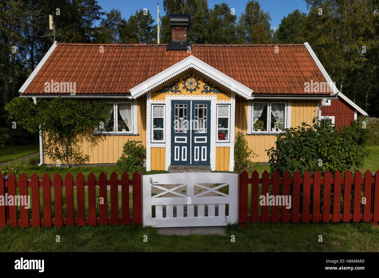 Front porch in Bolmen, Sweden - Stock Image