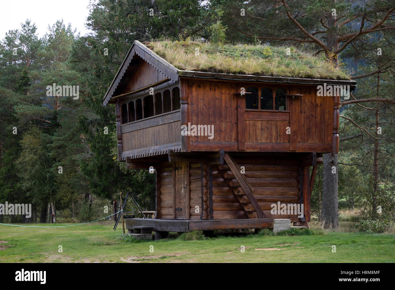Grass-roofed shed, old-fashioned food storage house at Valle in the Setesdal, Norway - Stock Image
