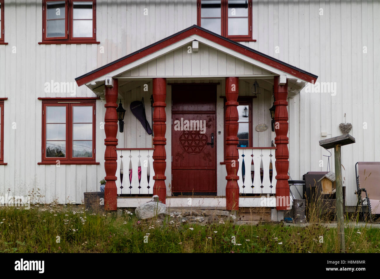 Front porch from a house in Valle,Setesdal, Norway - Stock Image