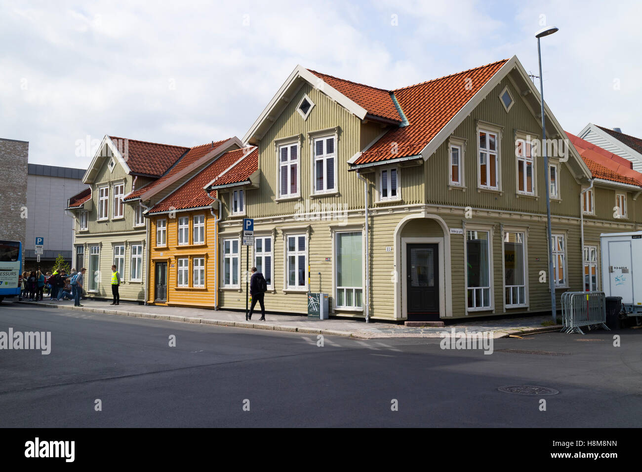 Traditional colorful wooden houses in Kristiansand, Norway - Stock Image