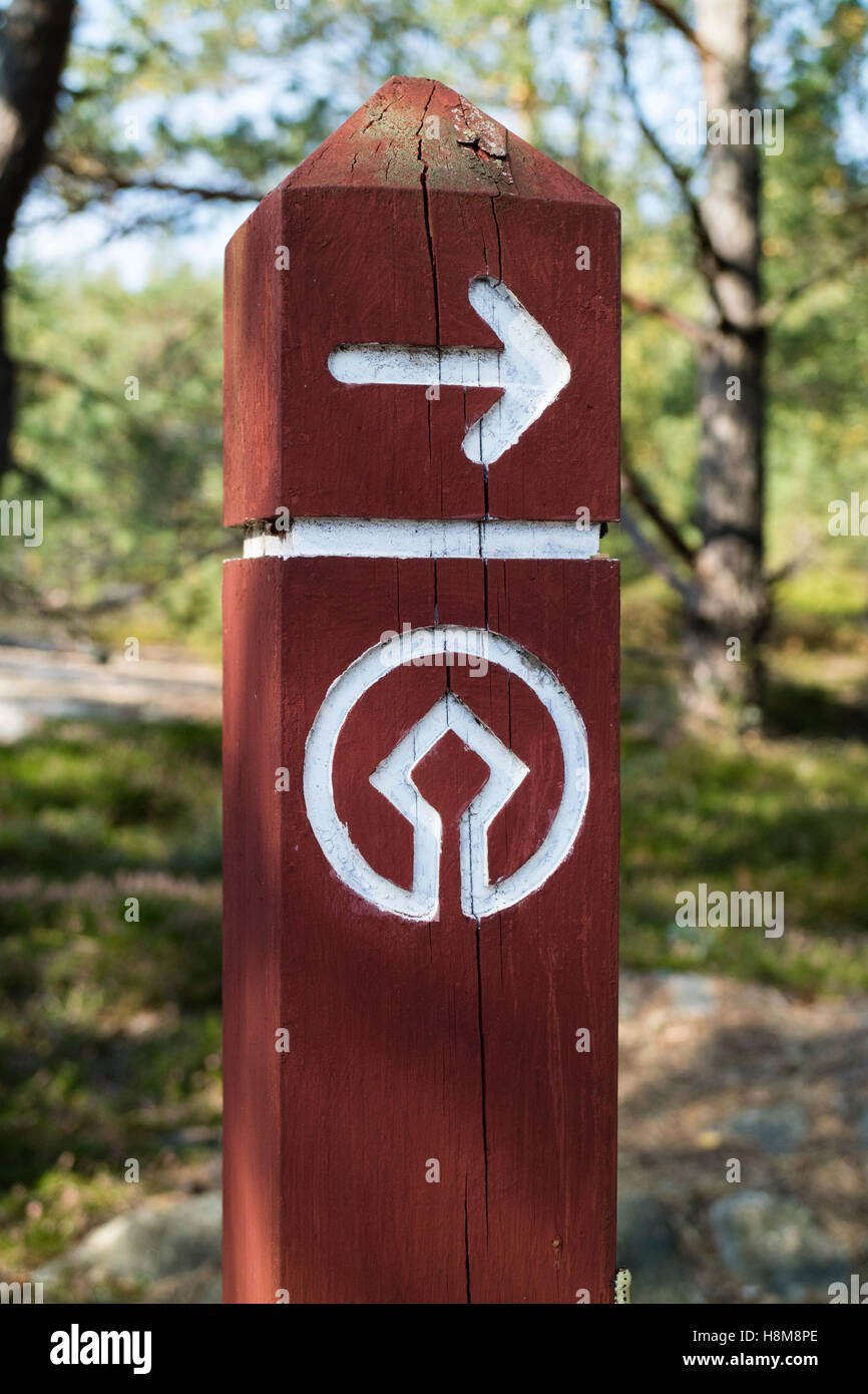 Road sign in the Tanum world heritage center,Sweden Stock Photo