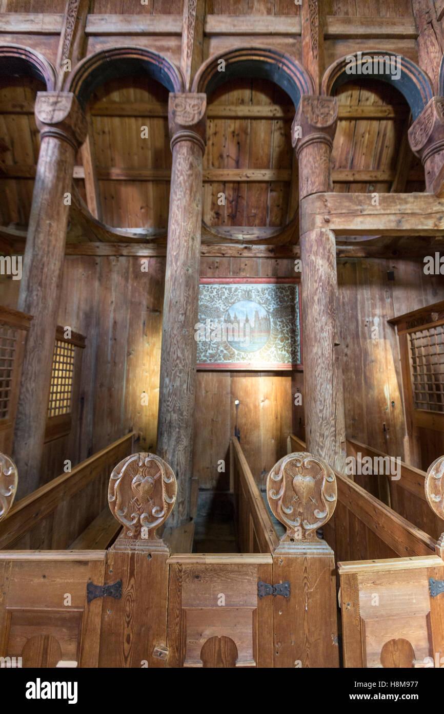 Pews in Urnes Stave Church, Ornes, Luster, Sogn og Fjordane county, Norway Stock Photo