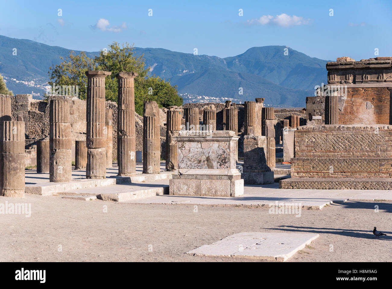 Ruins of Pompeii, the ancient Roman city destroyed during a catastrophic eruption of the volcano Mount Vesuvius - Stock Image