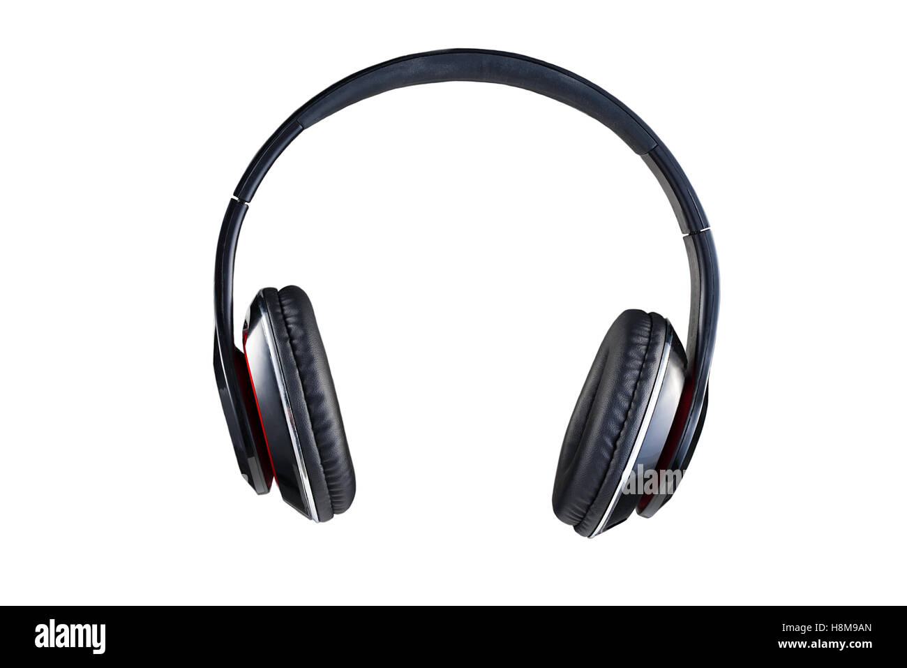Wireless black headphones front view isolated on white background - Stock Image