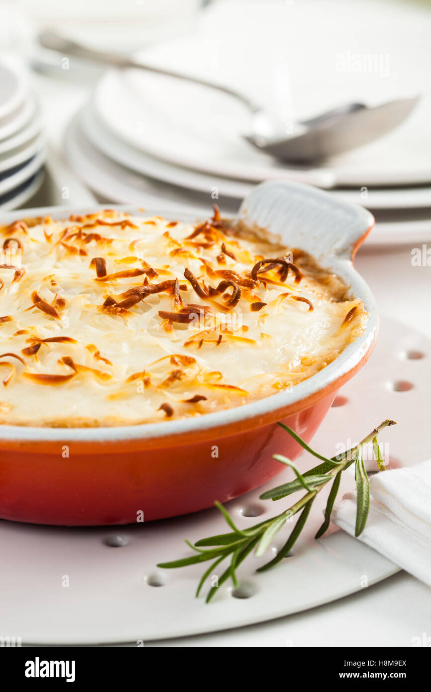 A dish of moussaka, a typical Greek dish, prepared with, eggplant, meat and cheese - Stock Image