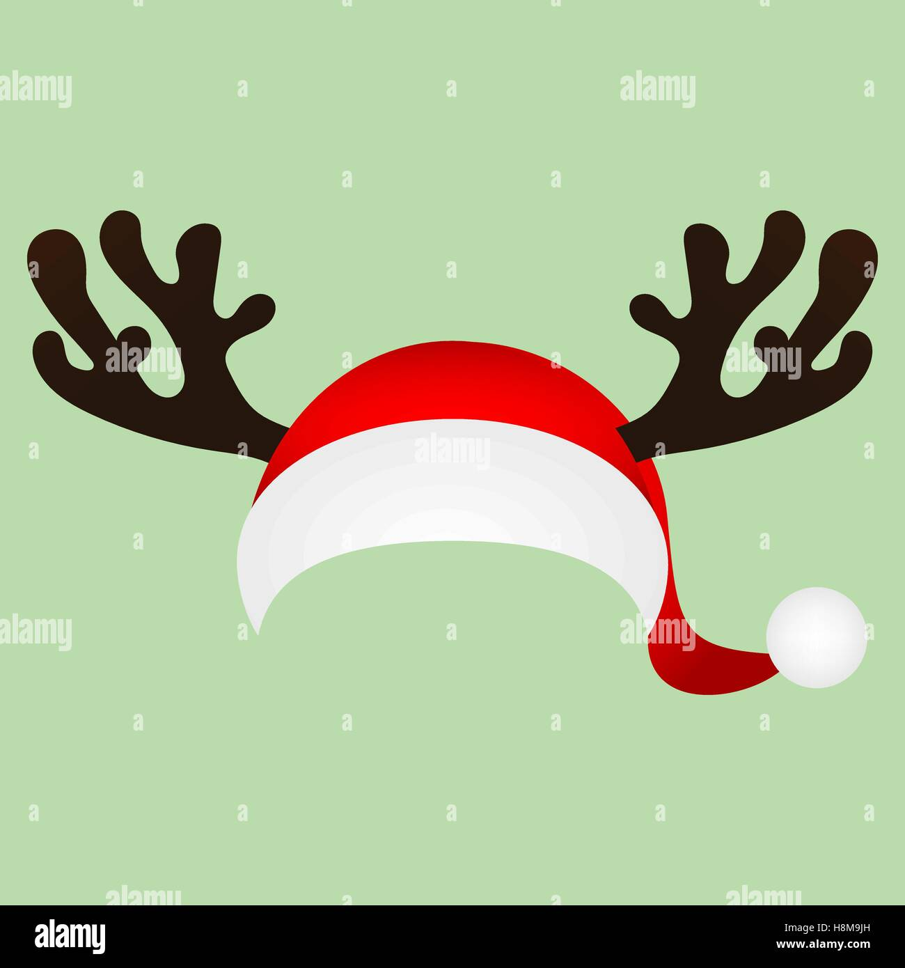 Template for a fun photo of Santa Claus hat and horn Christmas r ...