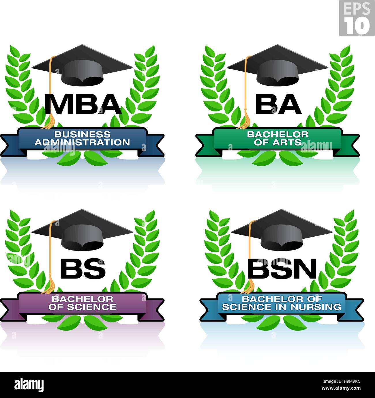 Degrees in education with wreath and graduation hat, including MBA, BA, BS, BSN - Stock Image