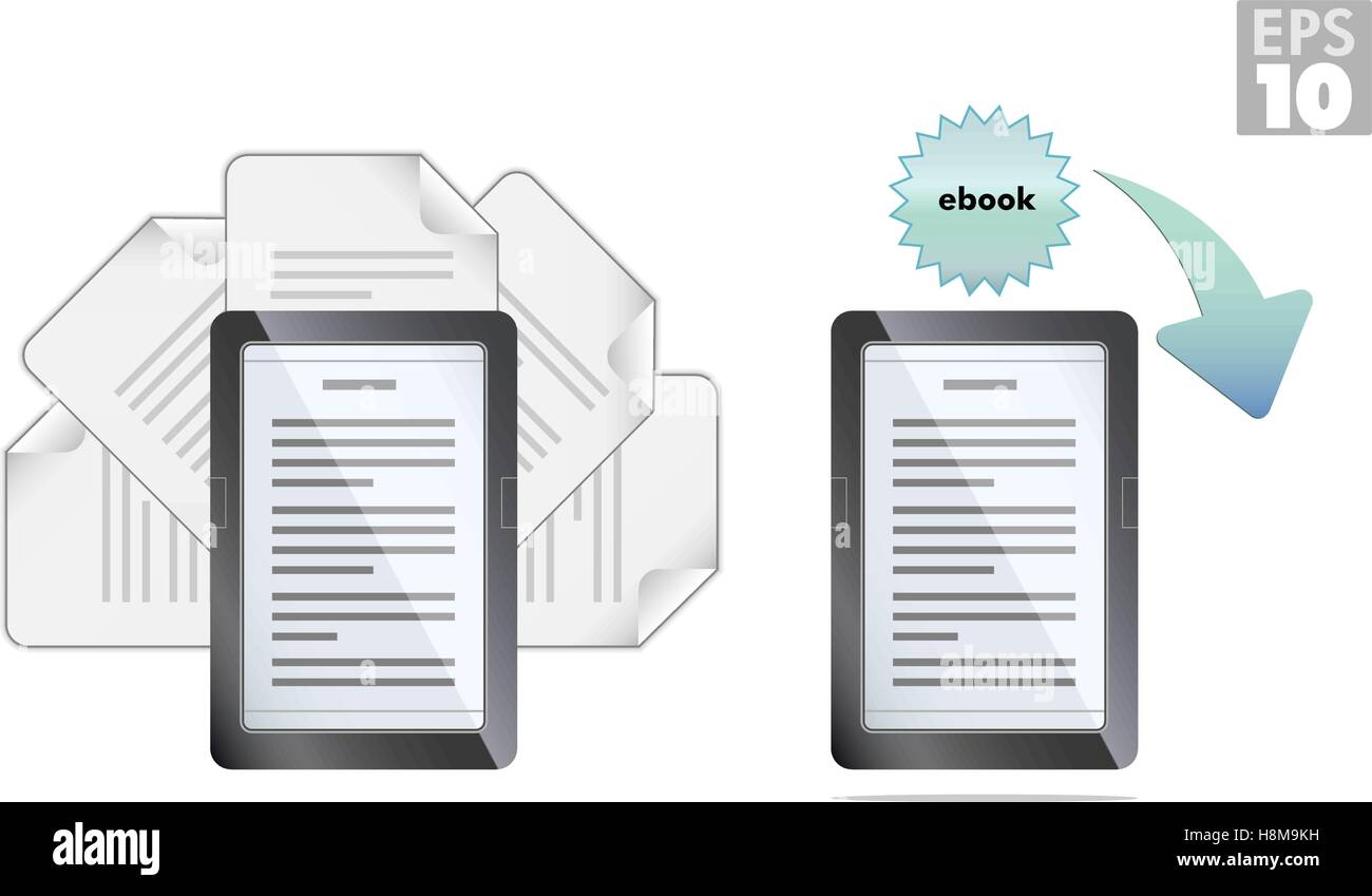 Ebook reader with pages and download icons - Stock Image