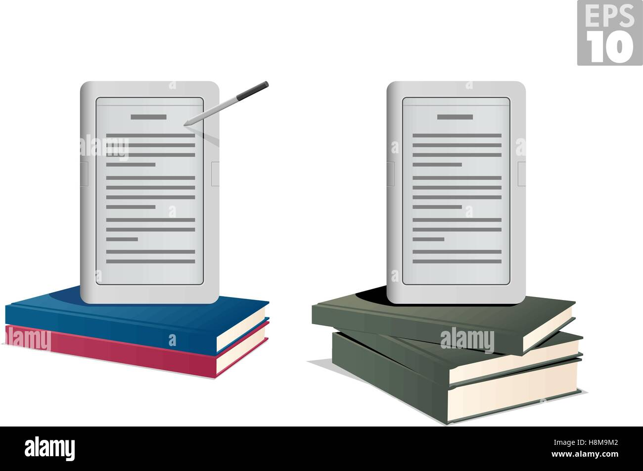 Ebook reader on a stack of hardcover books - Stock Image