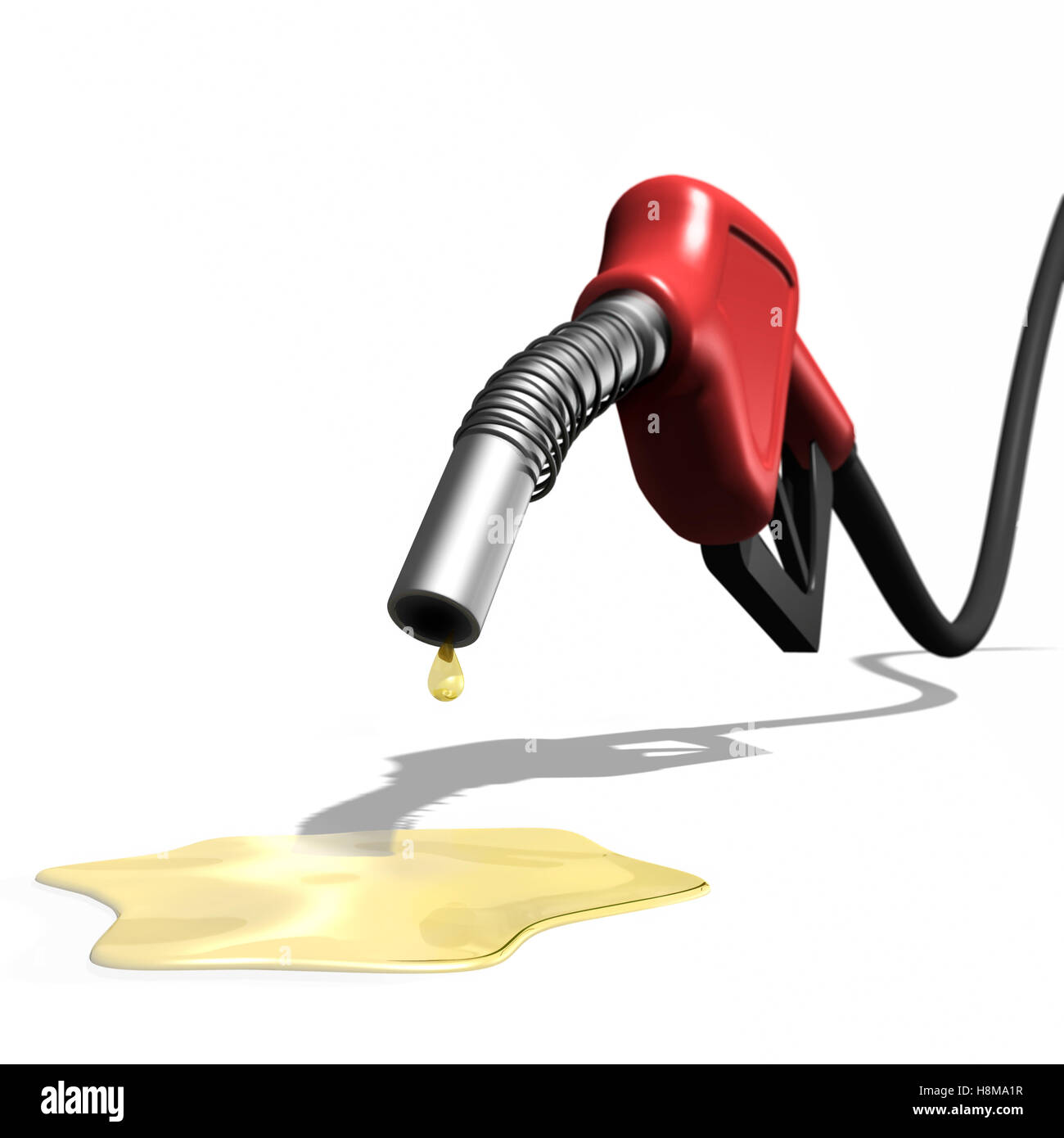 Last drops of gasoline coming out of a gas station nozzle, illustration - Stock Image