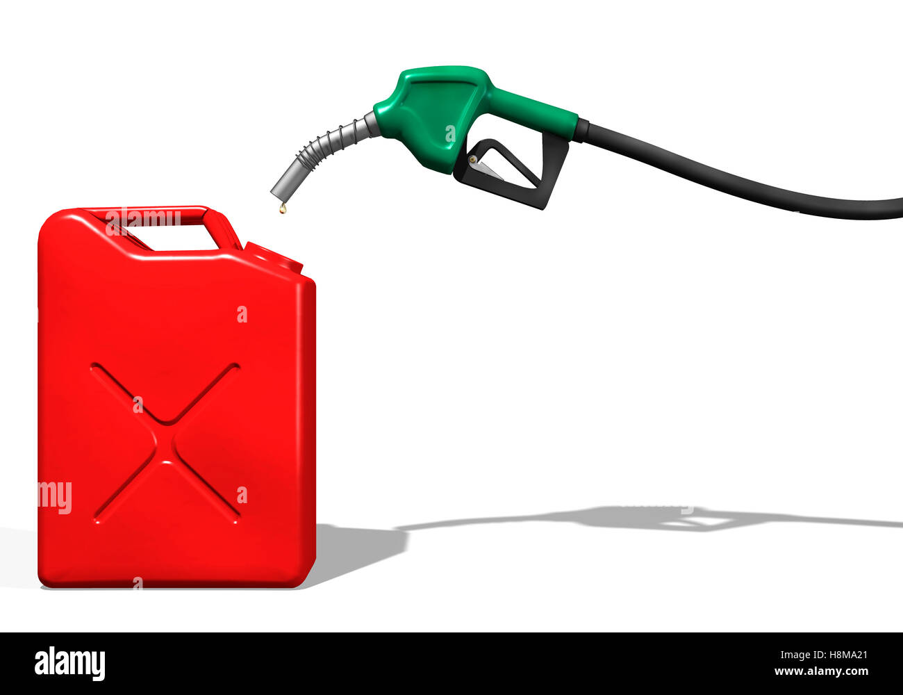 Last drops of gasoline coming out of a gas station nozzle into a canister, illustration - Stock Image