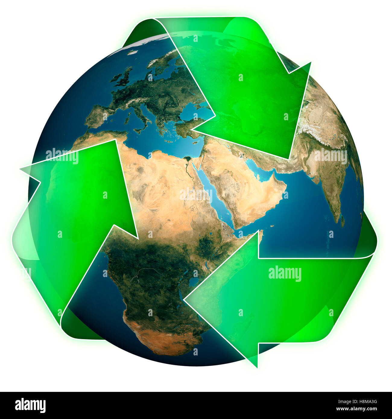 Earth globe inside a recycling symbol, conceptual illustration - Stock Image