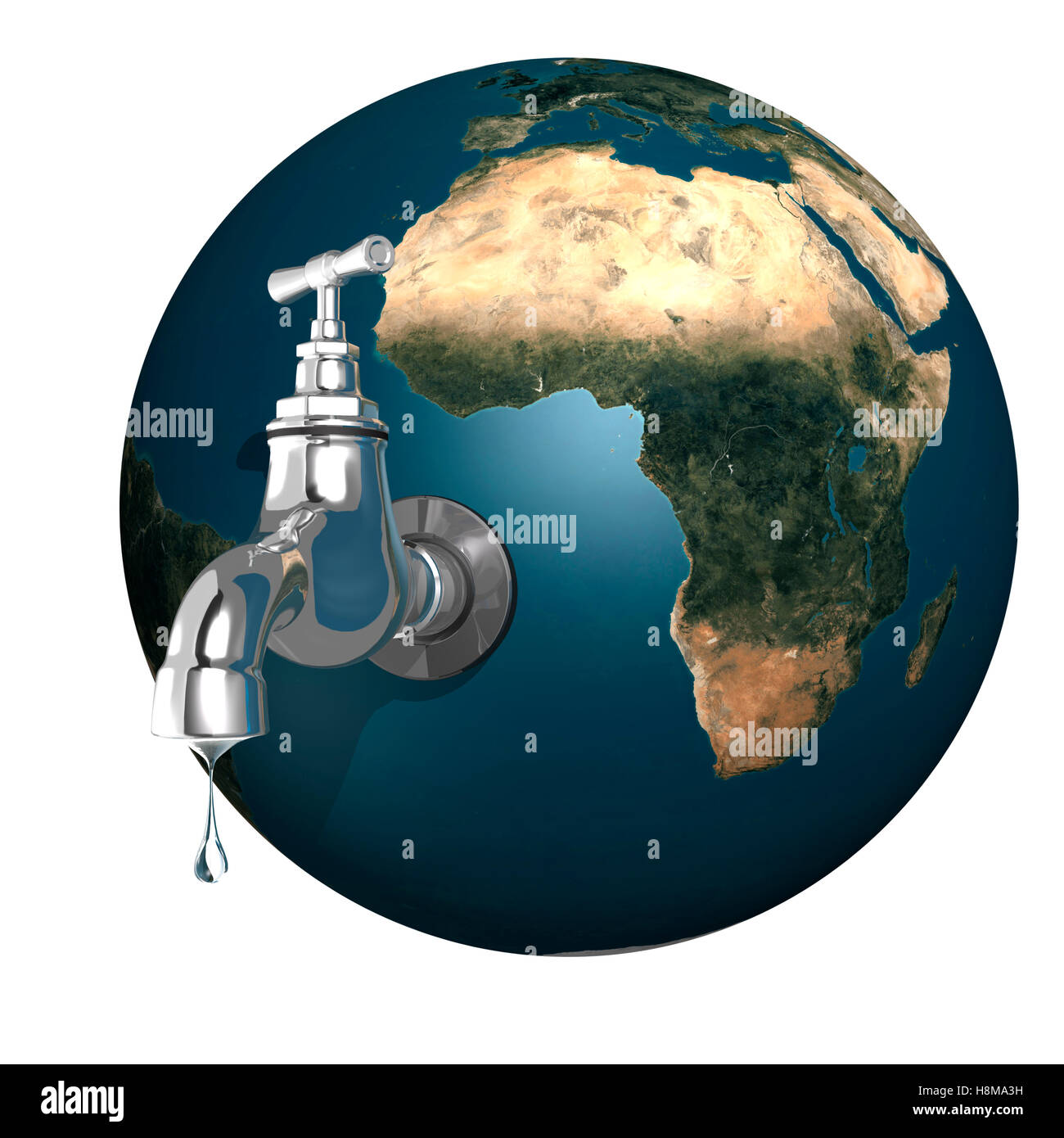 Water dripping from an open tap attached to the Earth, conceptual illustration - Stock Image