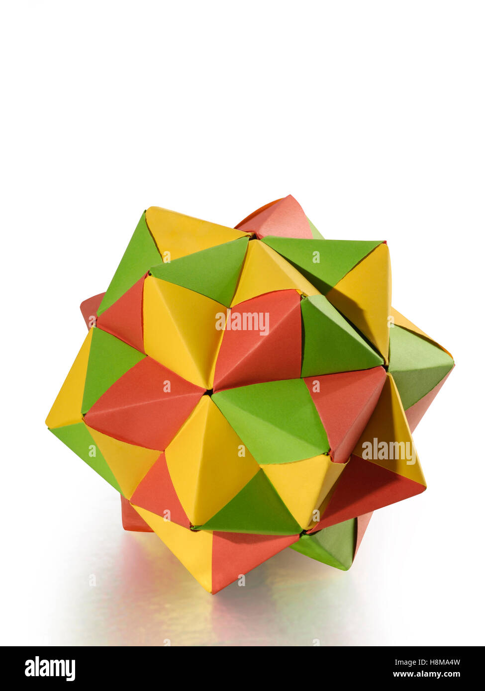 Colorful origami polyhedron figure - Stock Image