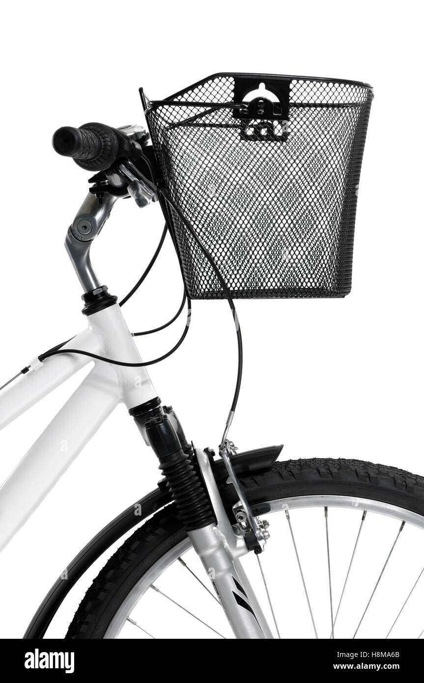 MTB mountain bicycle with a front basket - Stock Image