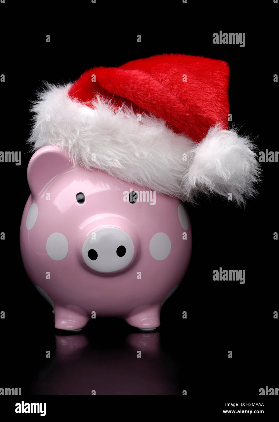 Piggy bank wearing Christmas hat - Stock Image