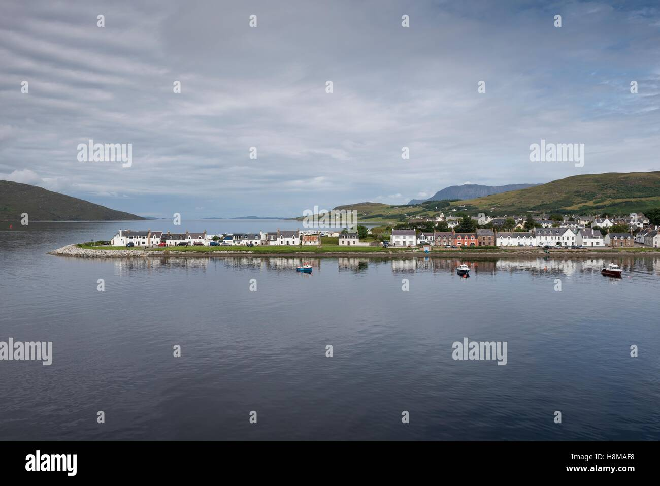 Ullapool port at Loch Broom in the Northwest Highlands, Ross and Cromarty, Scotland, United Kingdom - Stock Image