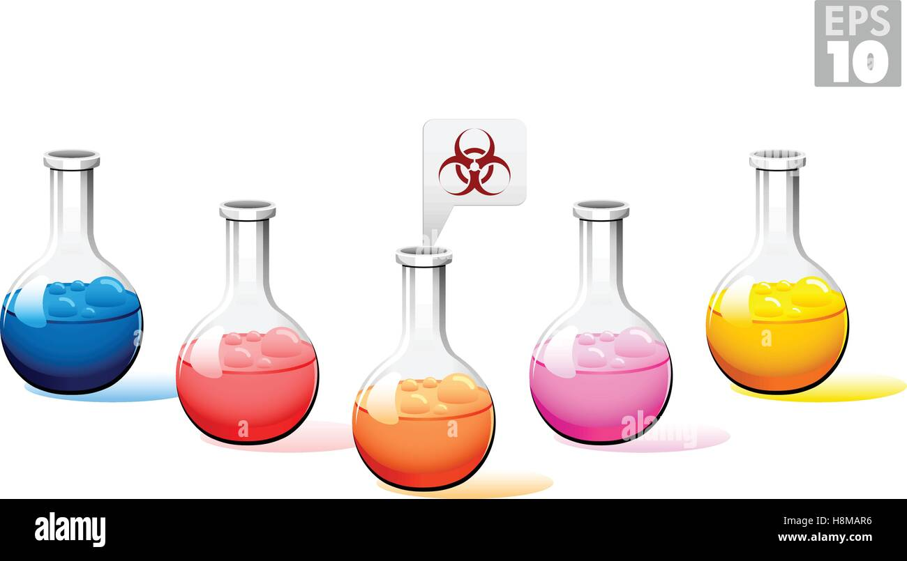 Round bottom flask with multi-colored liquid and bio hazard sign, EPS 10 - Stock Vector