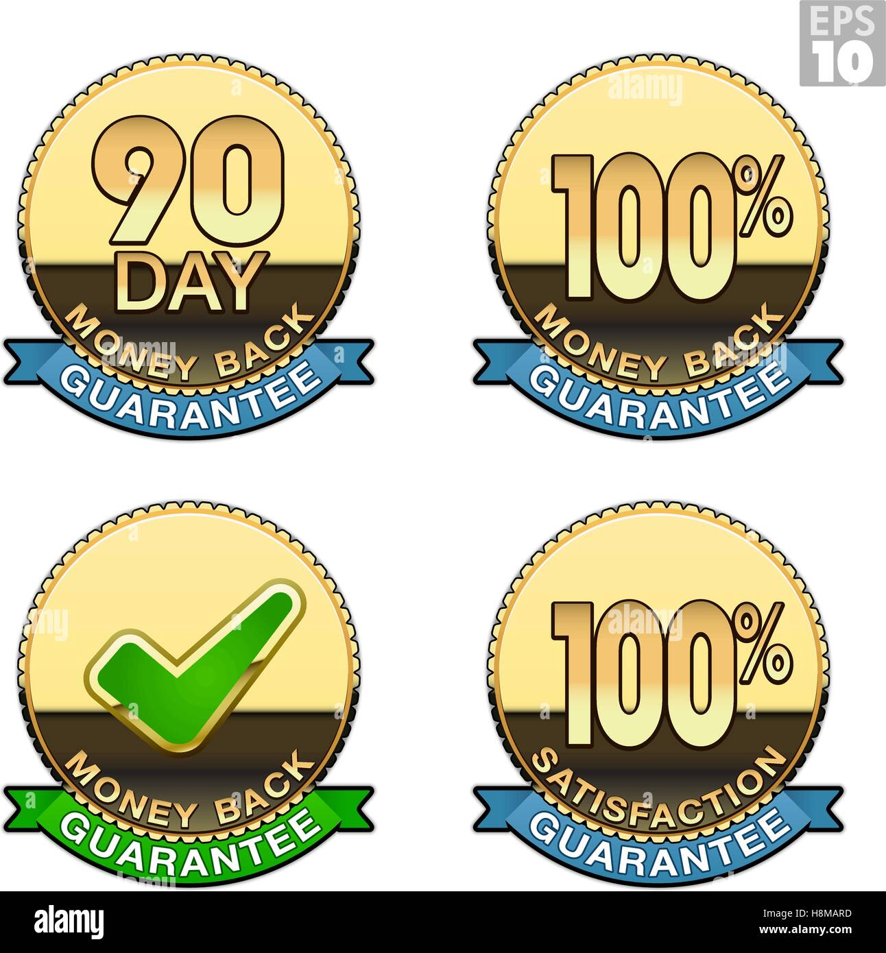Gold coin with money back guarantee and satisfaction guarantee text, emblem or seal - Stock Vector