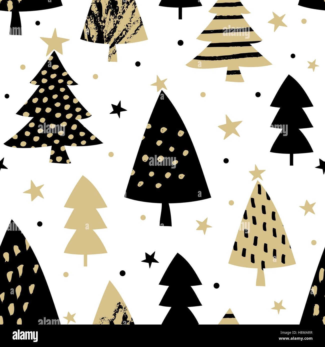 Seamless Repeating Pattern With Christmas Trees In Black And Gold