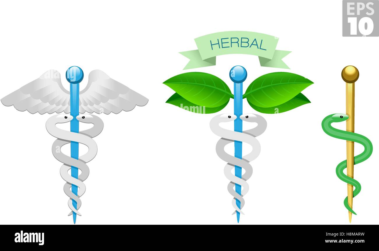 Herbal caduceus, Rod of Aesculapius, Medical icons, snake, rod and wings - Stock Image