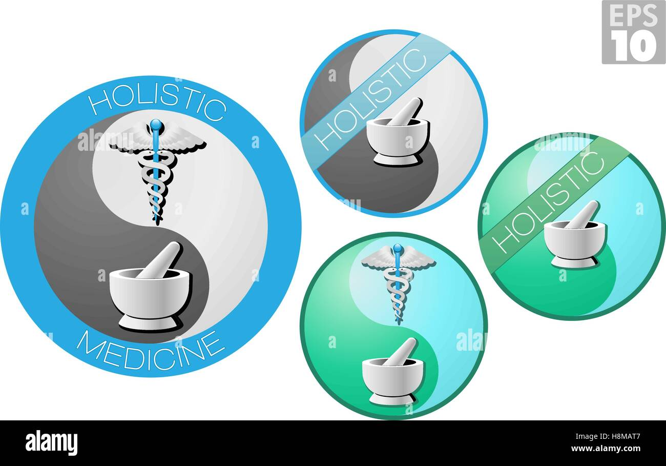 Holistic medicine icons, caduceus, short staff entwined by two serpents, surmounted by wings - Stock Image