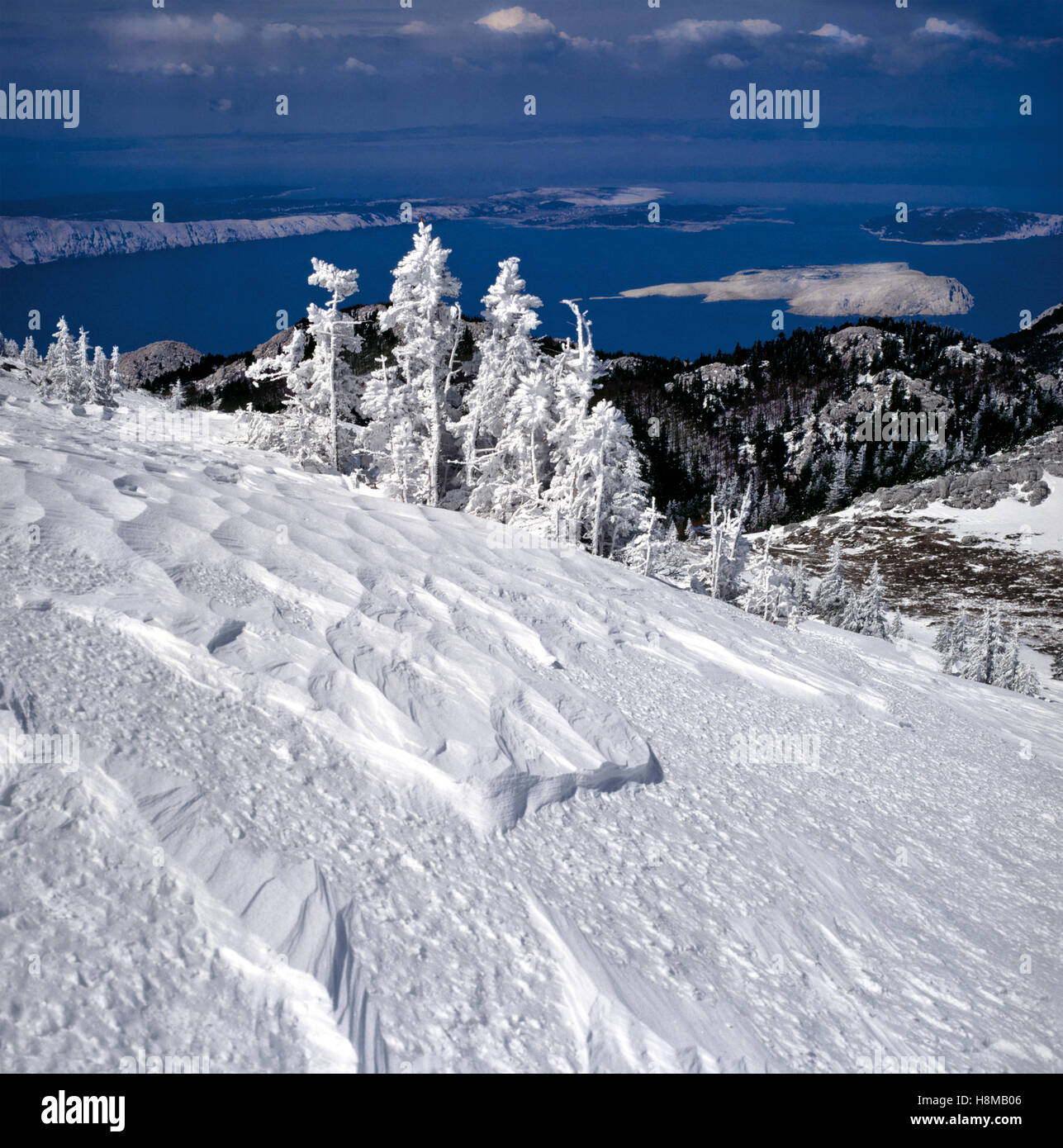 Landscape of Velebit mountain in winter.View to Croatian sea and islands Stock Photo