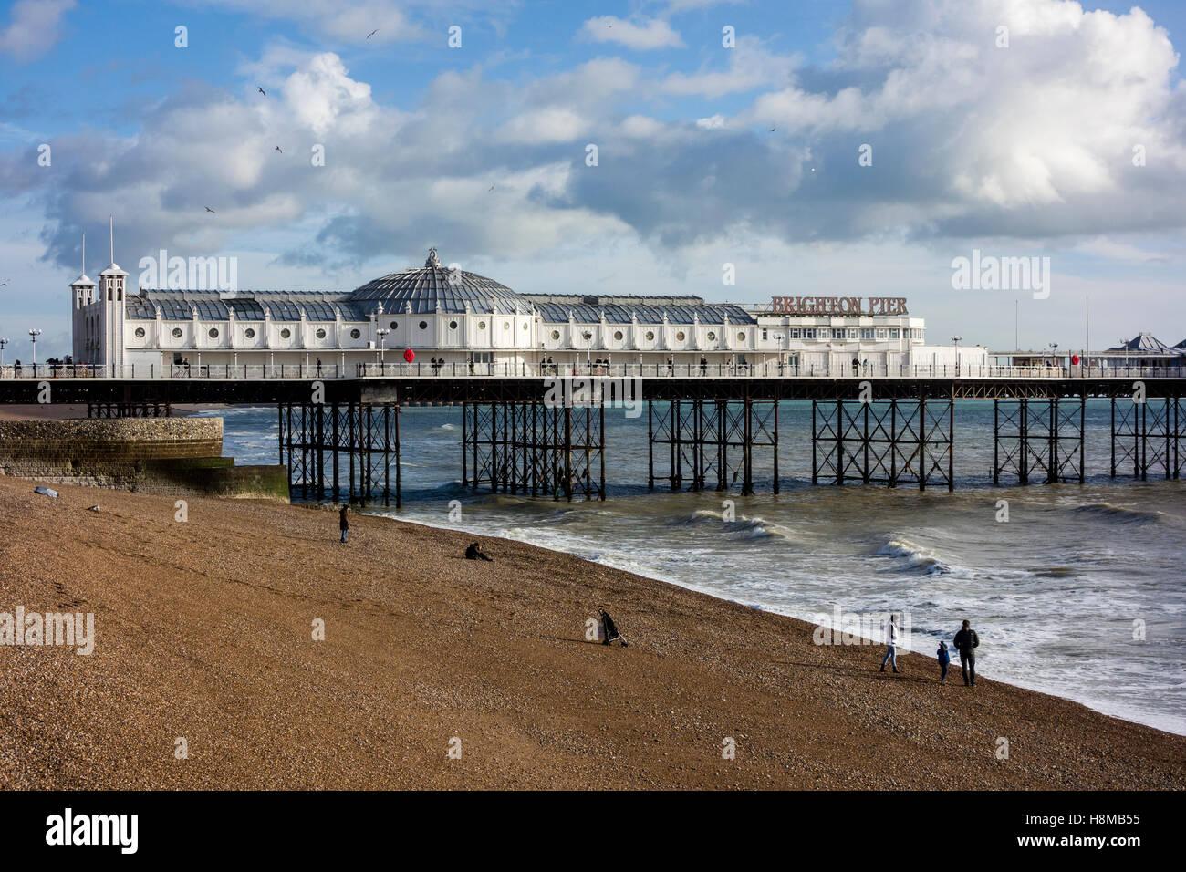 Brighton beach and pier, Brighton, Sussex, UK - Stock Image