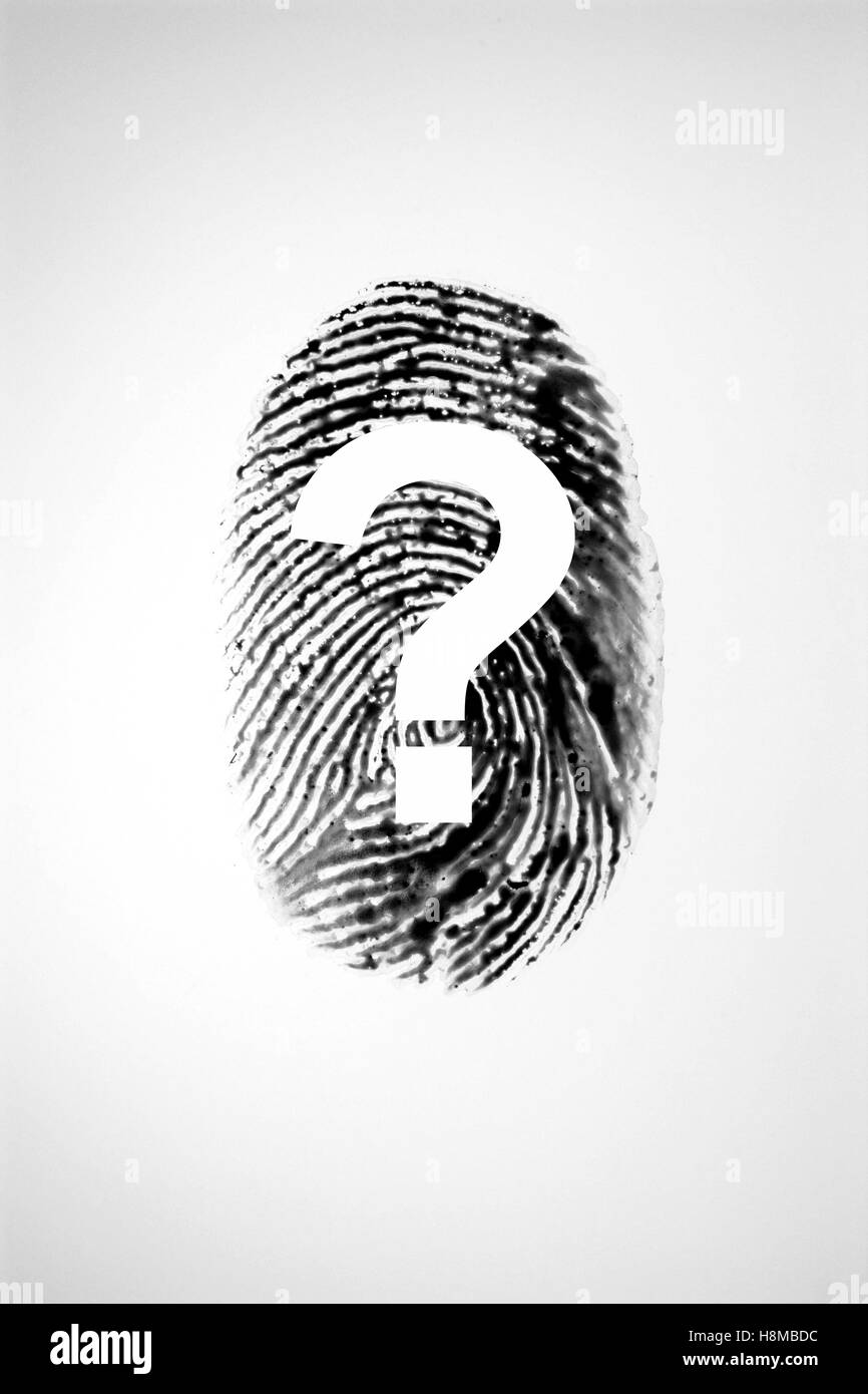 Finger print and question mark - Stock Image