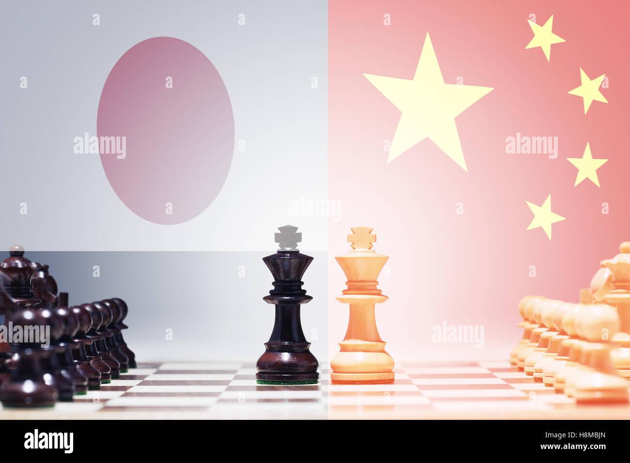Chess game China vs Japan - Stock Image