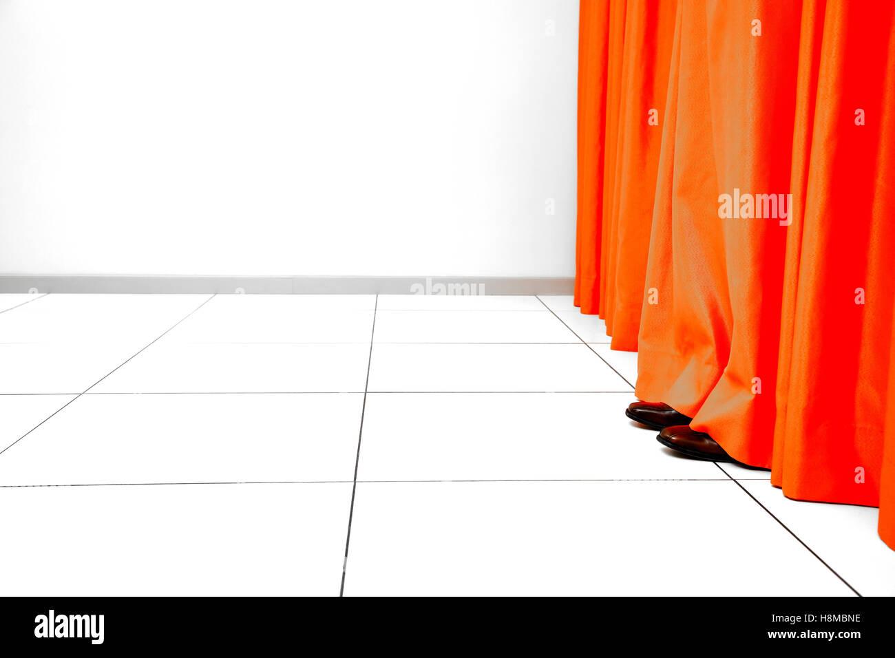 Orange Curtain - Stock Image
