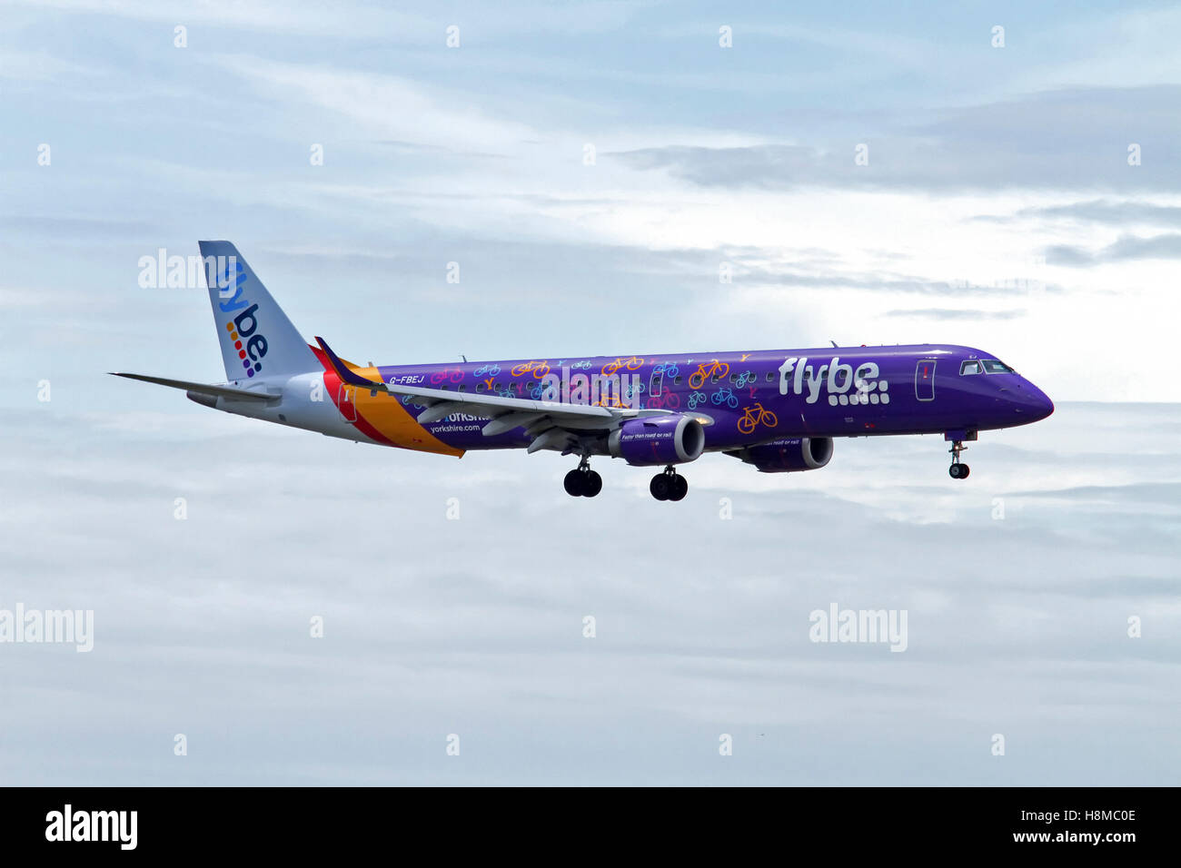 Flybe, Embraer 190-195 at Milan - Malpensa (MXP / LIMC) Italy - Stock Image