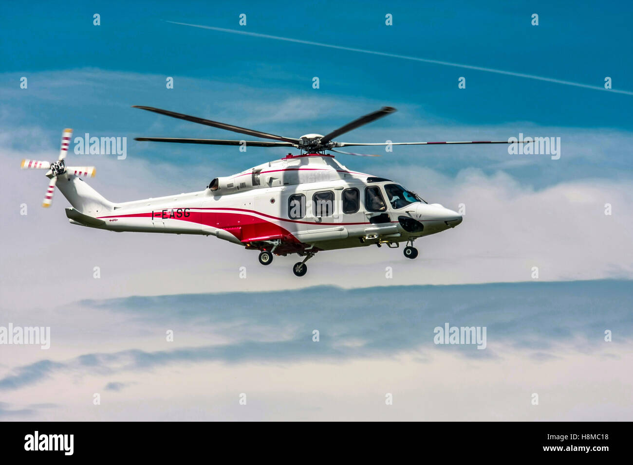 Privately owned Agusta A109E Power helicopter I-EASG - Stock Image