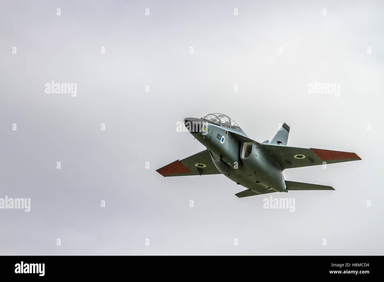 Israeli Air Force Alenia Aermacchi M-346 Master (IAF Lavi) a military twin-engine transonic trainer aircraft. - Stock Image