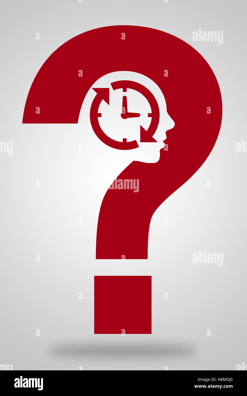 Question mark with clock and face shape - Stock Image