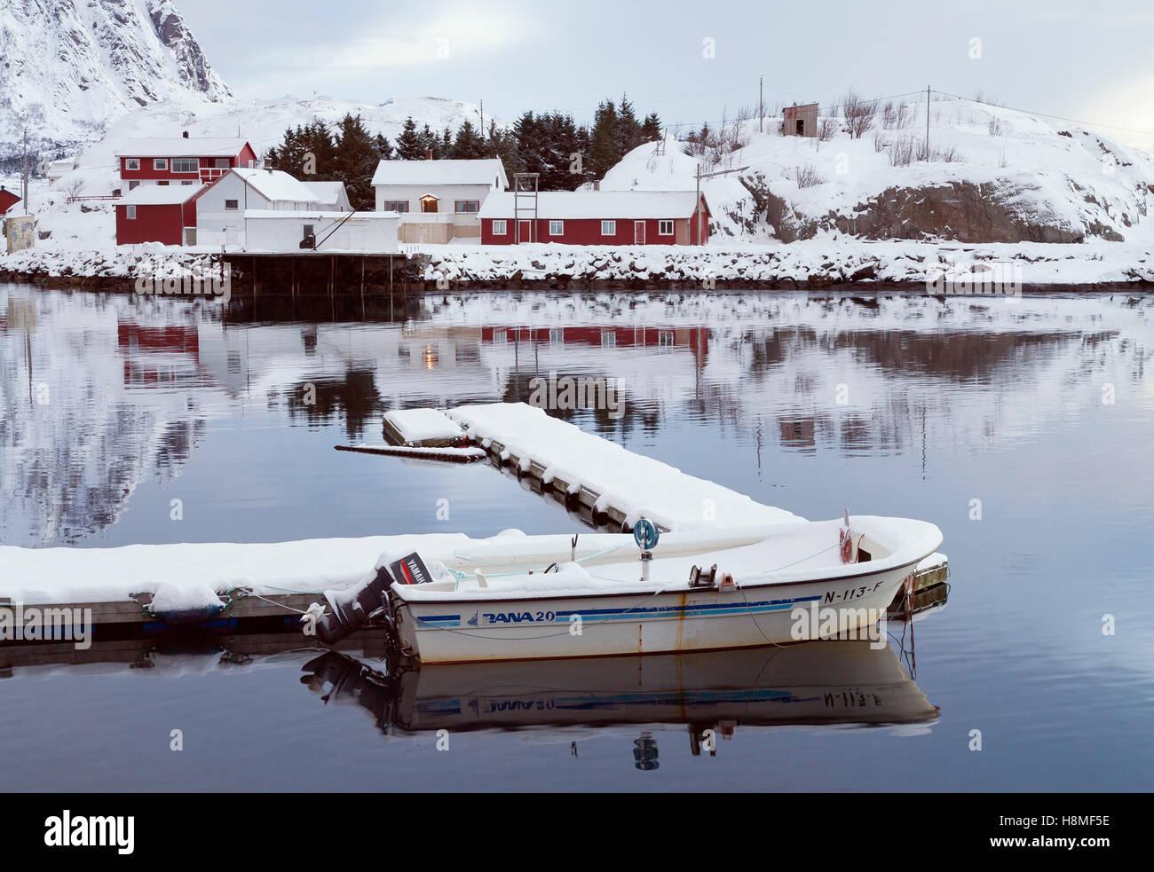 Fishing harbor. Lofoten, Norway - Stock Image