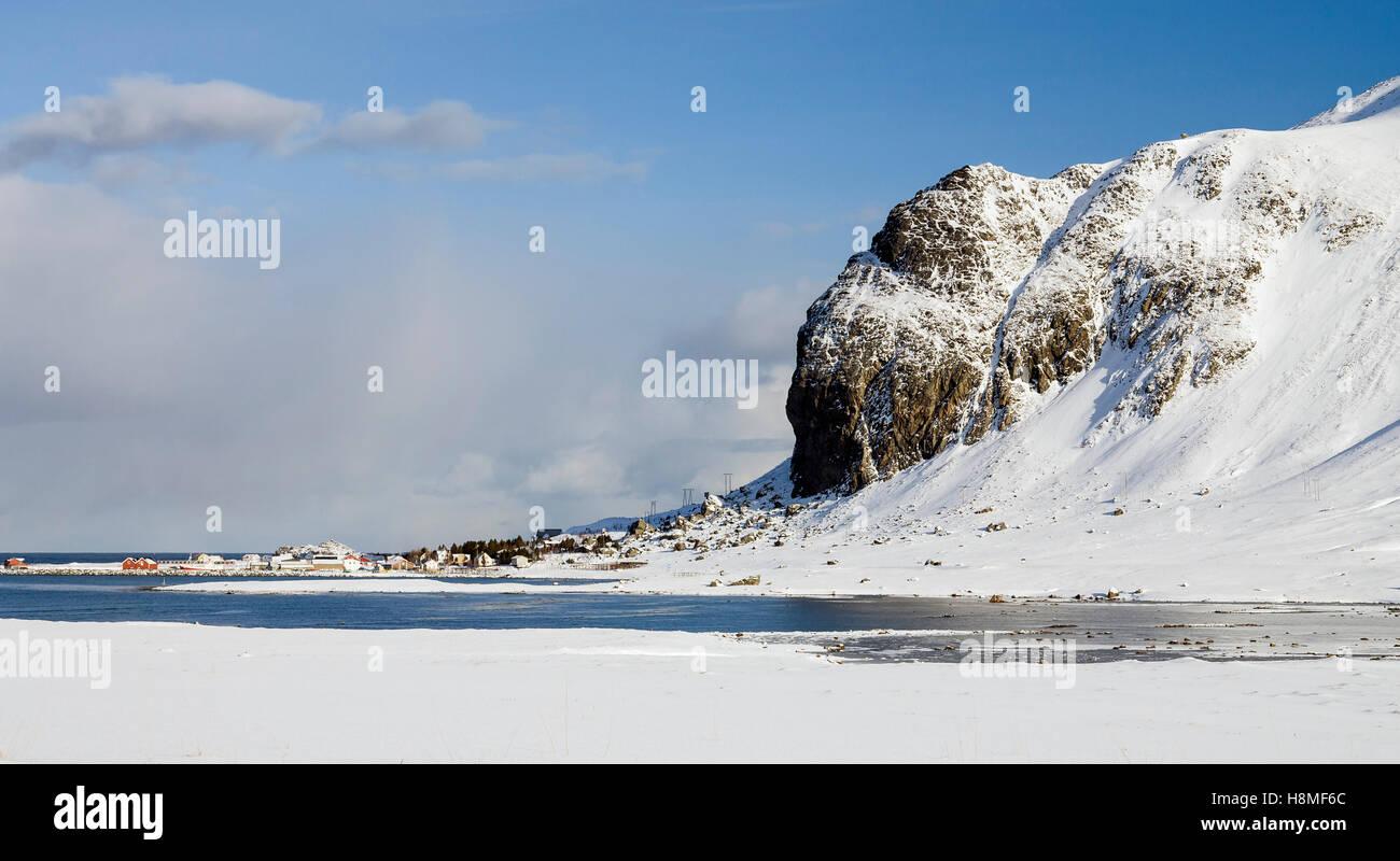 Coastal village on Lofoten, Norway - Stock Image