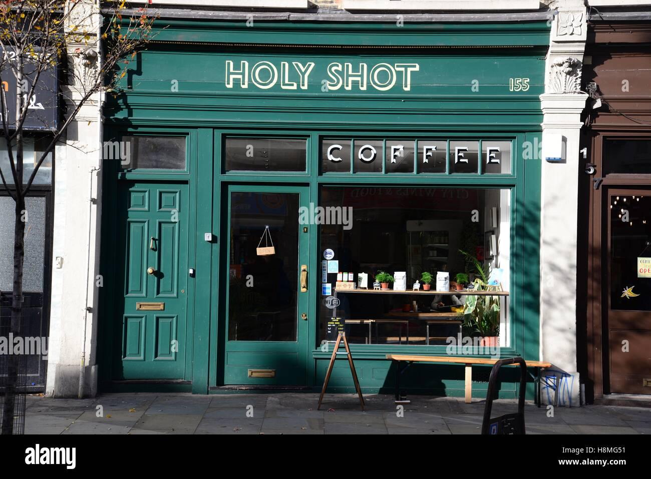 Holy Shot coffee shop, Bethnal Green Road, Shoreditch, London Stock Photo: 125841549 - Alamy