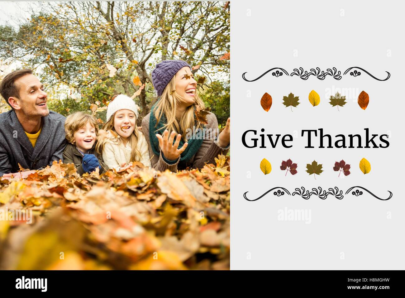 Happy Family and Thanksgiving Message - Stock Image