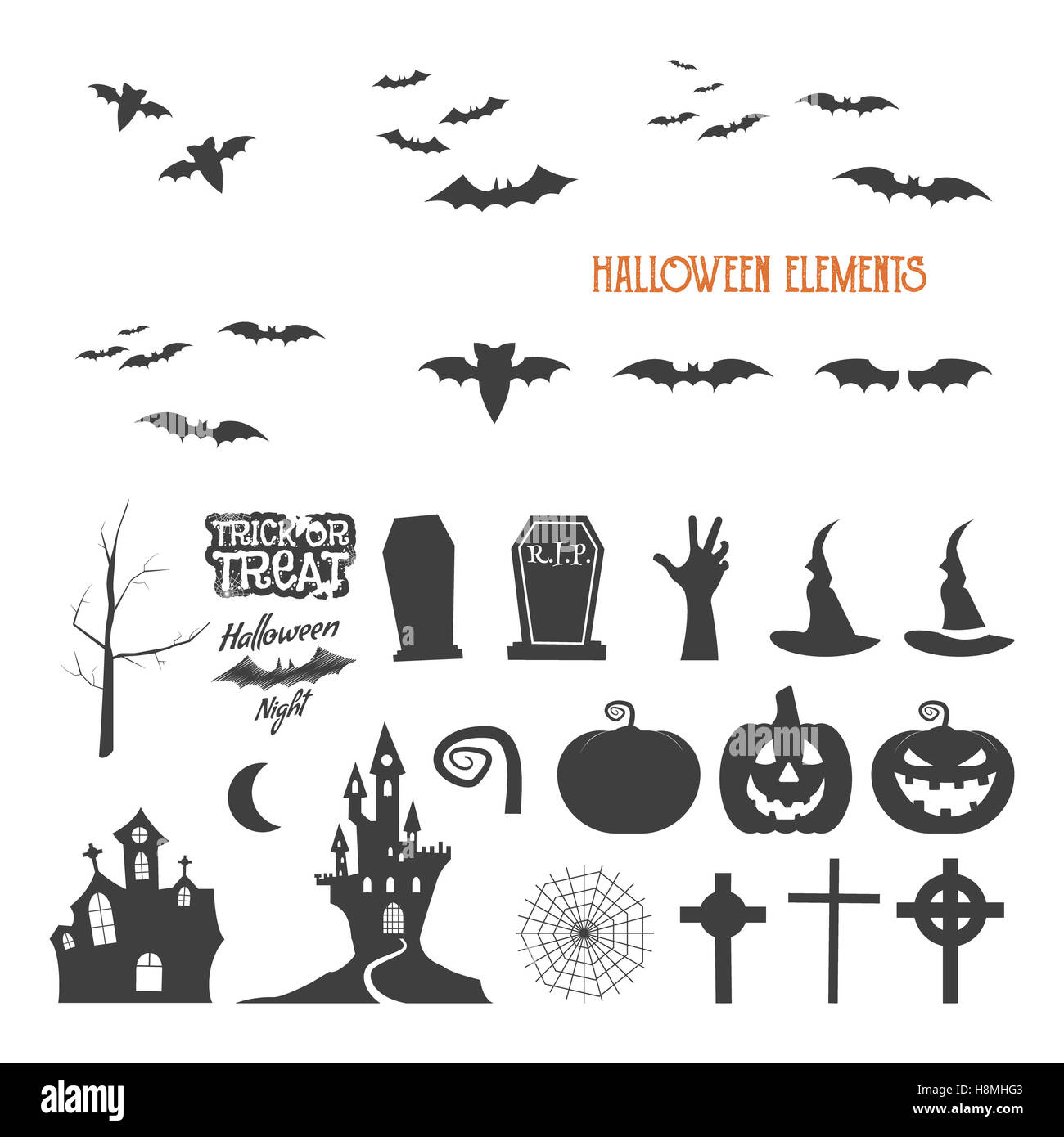 Set Of Halloween Design Creation Tool Kit Icons Isolate Flat Stock