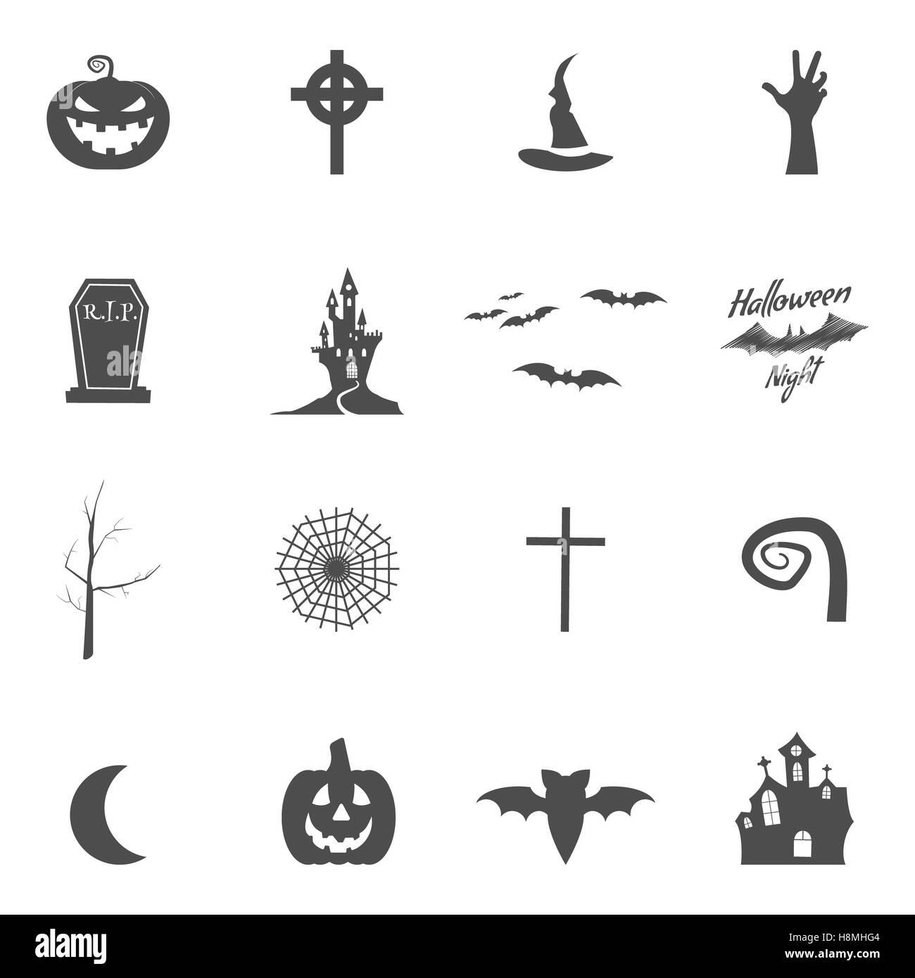 Set Of Halloween Design Creation Tool Kit Icons Isolate Silhouette