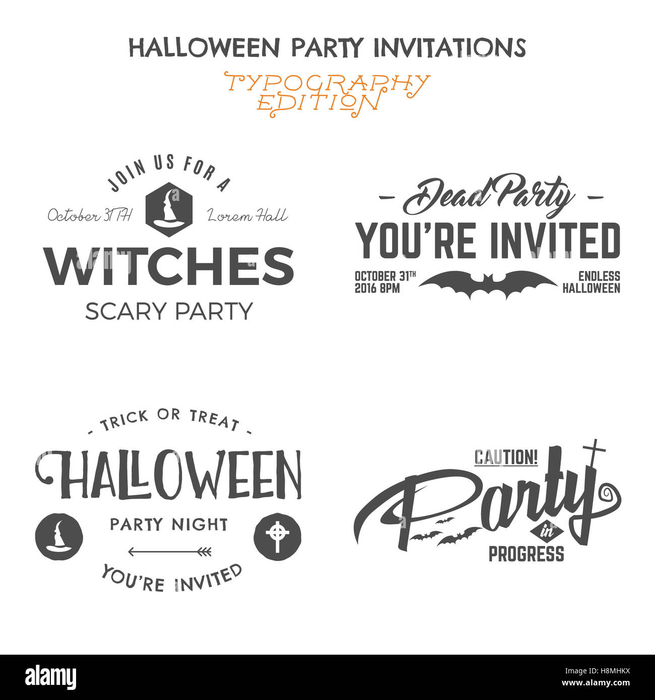 Halloween 2016 party invitation label templates with holiday symbols ...