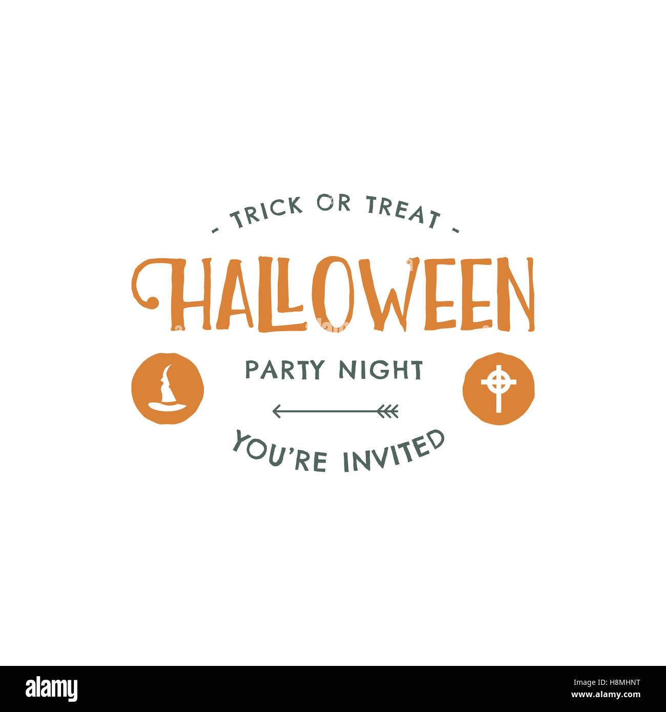 Halloween party label template with hat and typography elements halloween party label template with hat and typography elements letters retro grunge patch for scary holiday celebration print on t shirt tee flyers stopboris Gallery