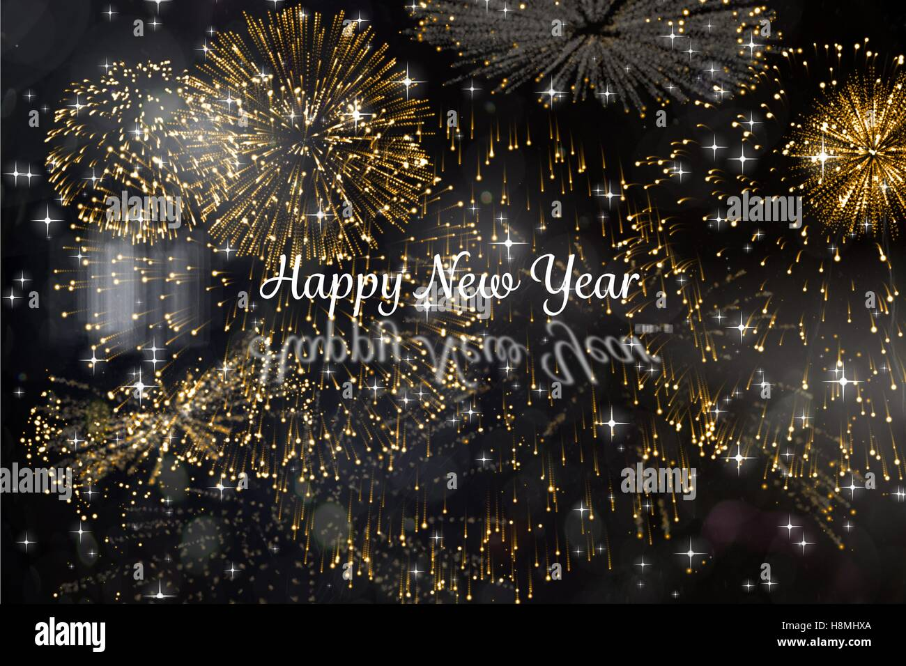 new year message on firework background design stock photo